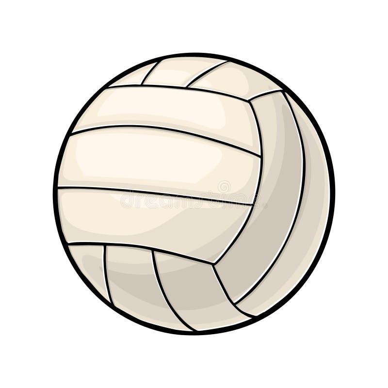 Шарик волейбола Винтажная иллюстрация цвета вектора белизна изолированная предпосылкой иллюстрация штока