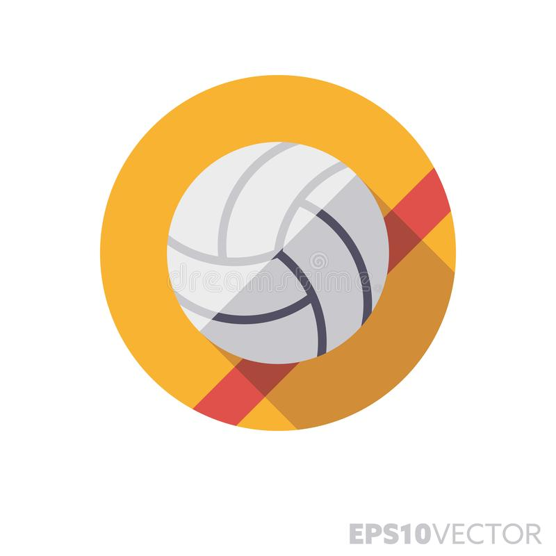 Шарик волейбола на значке вектора цвета тени плоского дизайна поля длинном иллюстрация вектора