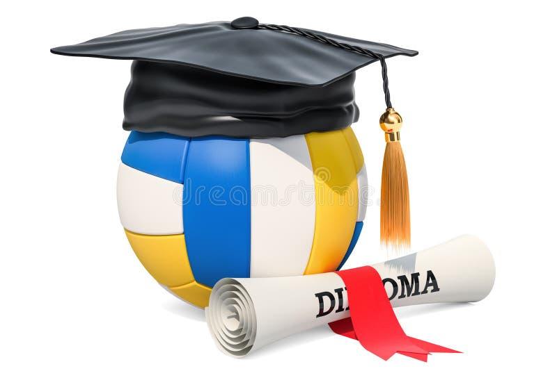 Шарик волейбола с крышкой и дипломом градации перевод 3d иллюстрация штока