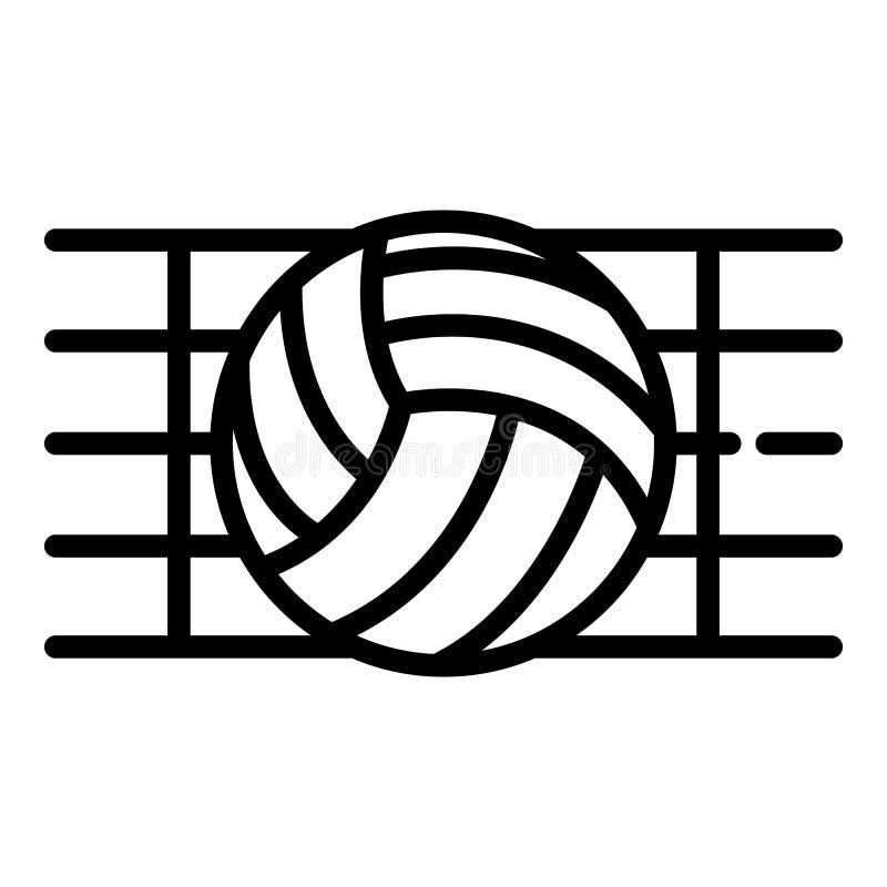Шарик в значке сети волейбола, стиль плана бесплатная иллюстрация