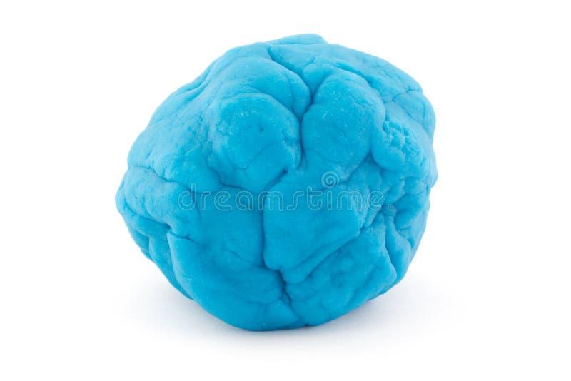 Шарик голубого теста игры на белизне стоковая фотография rf