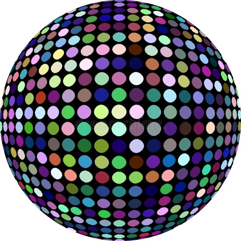 шарик диско 3d изолировал Пурпурная голубая зеленая желтая картина глобуса мозаики точек бесплатная иллюстрация