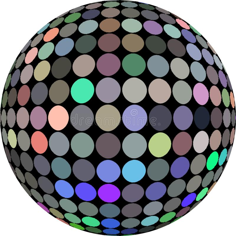 шарик диско hologram 3d изолировал График сферы мозаики зеркала Shimmer иллюстрация вектора