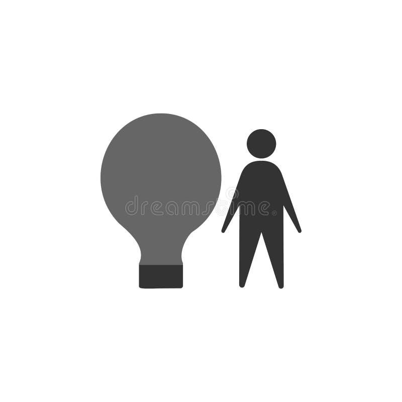 шарик, значок идеи Элемент выходя на рынок значка для мобильных приложений концепции и сети Детализированный шарик, идею можно ис иллюстрация вектора