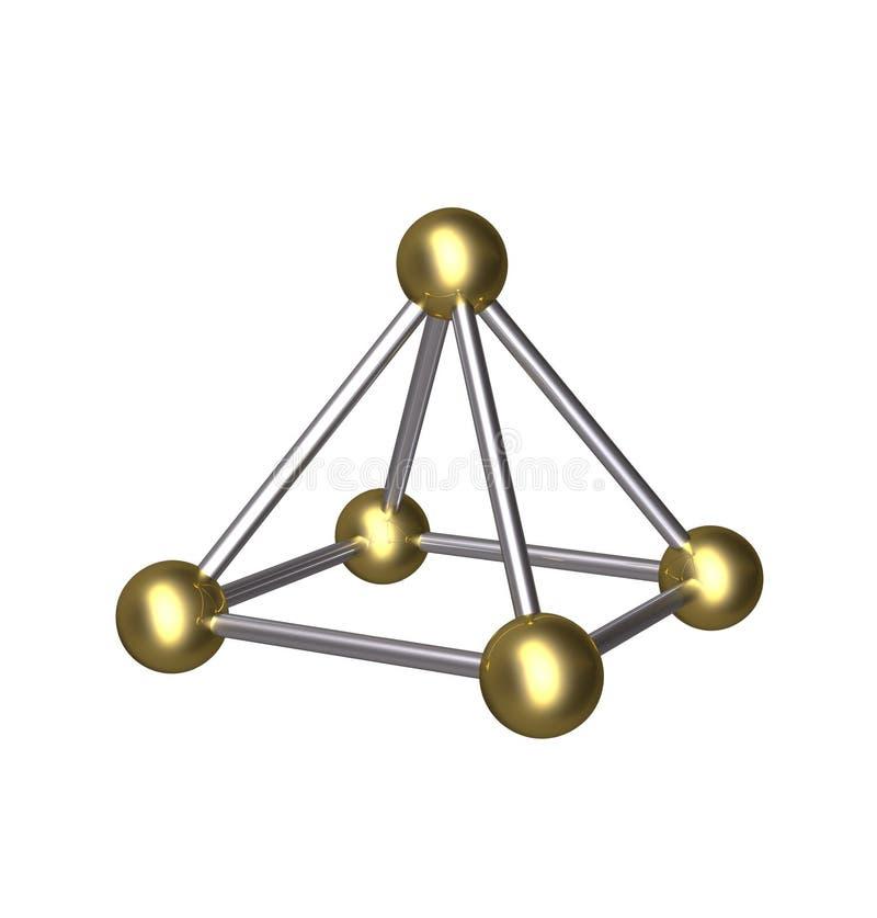 шарик золота пирамиды 3D и штанга серебра иллюстрация штока