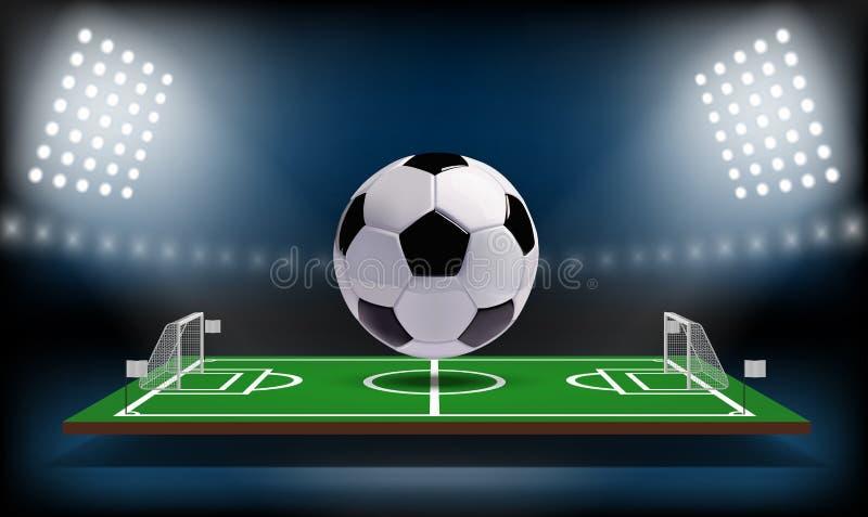 Шарик игровой площадки 3d футбола или футбола спорт игры Вектор предпосылки фары и табло футбольного стадиона бесплатная иллюстрация