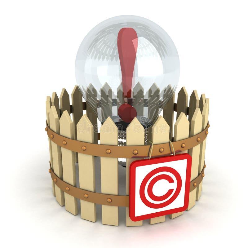 Шарик идеи принципиальной схемы за загородкой авторского права бесплатная иллюстрация