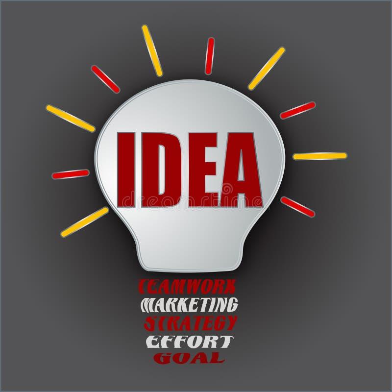 Шарик идеи с сыгранностью, маркетингом, стратегией, усилием, и целью иллюстрация вектора