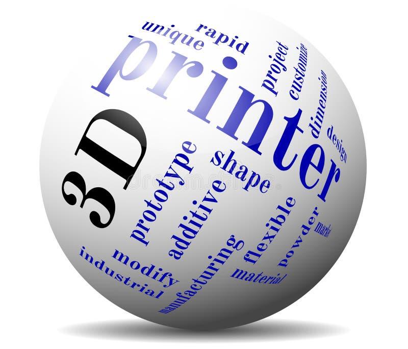 шарик облака печатания 3d иллюстрация штока