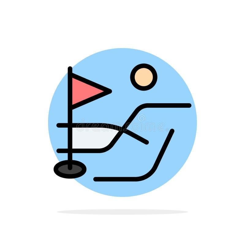 Шарик, поле, значок цвета предпосылки круга конспекта спорта гольфа плоский иллюстрация штока