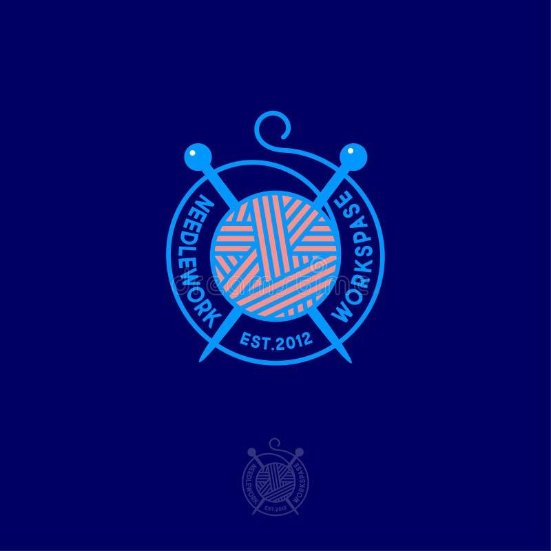 Шарик пряжи и вязать игл Логотип Needlework Handmade община продукта иллюстрация вектора