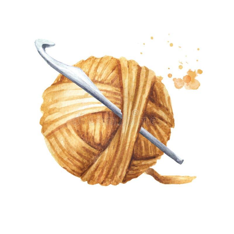 Шарик пряжи и крюк вязания крючком, иллюстрация руки акварели вычерченная изолированная на белой предпосылке иллюстрация вектора