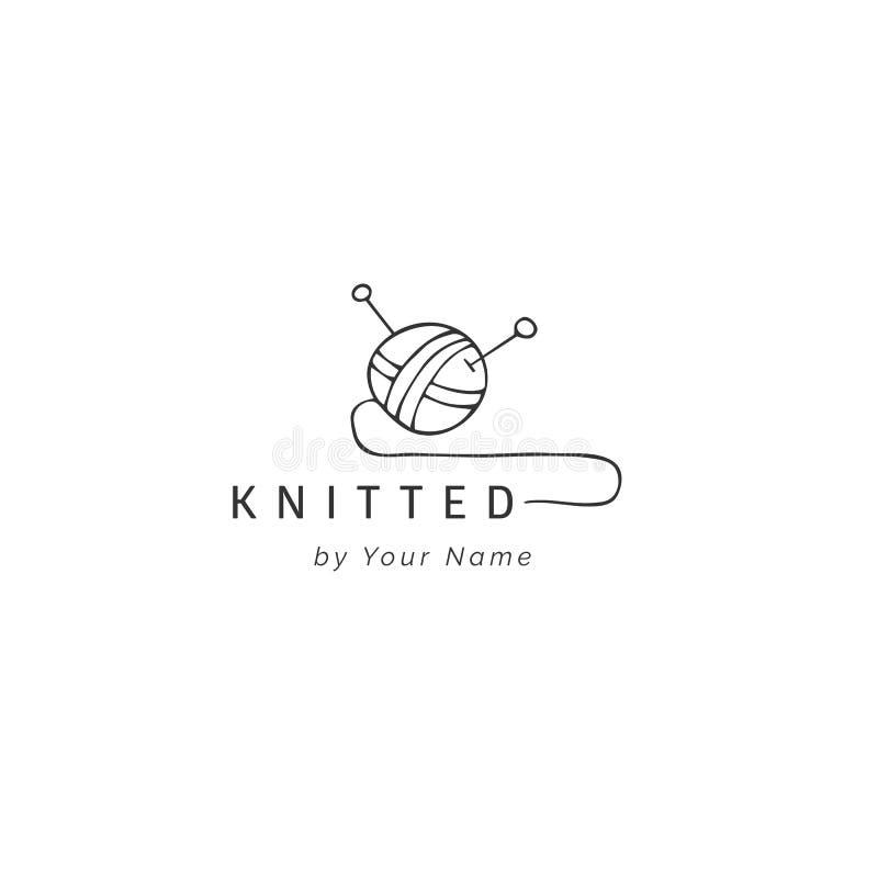 Шарик пряжи, шаблона логотипа вектора руки вычерченного Handmade и вязать тема иллюстрация штока
