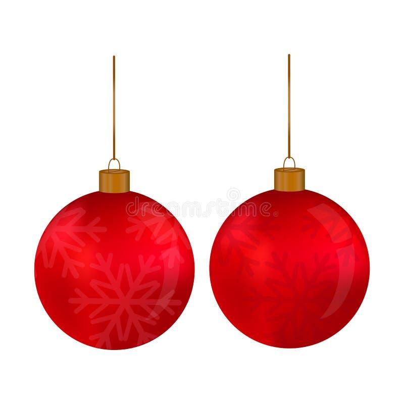 Шарик рождества красный со снежинкой вися на потоке на белой предпосылке бесплатная иллюстрация