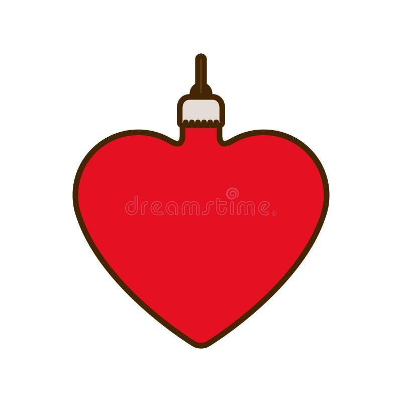 Шарик рождества со значком сердца изолированным формой иллюстрация вектора