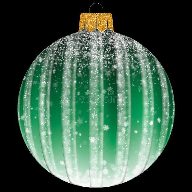 Шарик рождества со снежинкой в зеленом цвете стоковые изображения rf