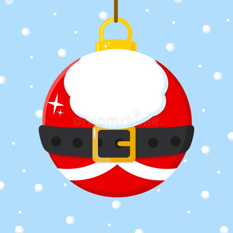 Шарик рождества с костюмом Санта Клауса иллюстрация вектора