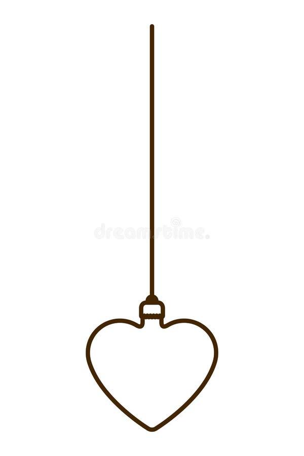 Шарик рождества с формой сердца вися изолированный значок иллюстрация вектора