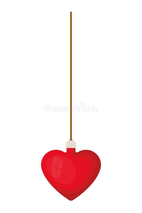Шарик рождества с формой сердца вися изолированный значок бесплатная иллюстрация