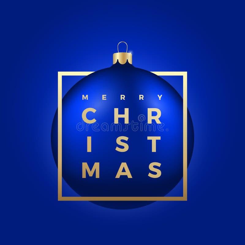 Шарик рождества на голубой предпосылке с золотыми современными приветствиями оформления в рамке бесплатная иллюстрация