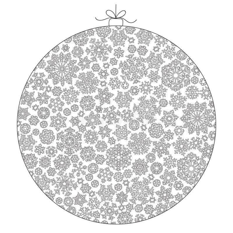 Шарик рождества от снежинок для вектора карточки Картина для co иллюстрация штока