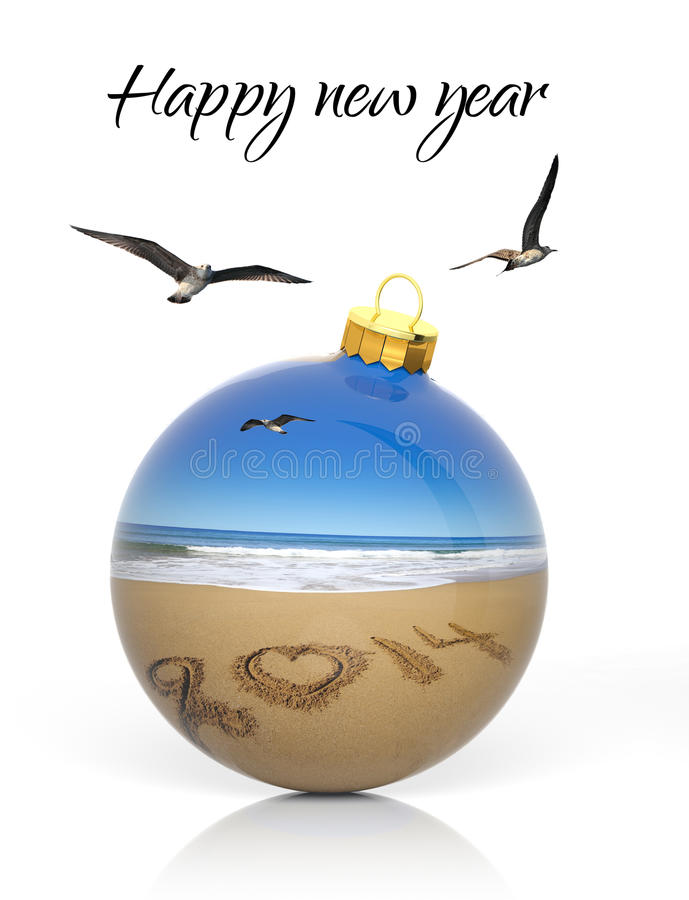 Шарик рождества при 2014 написанное на пляже стоковые фотографии rf