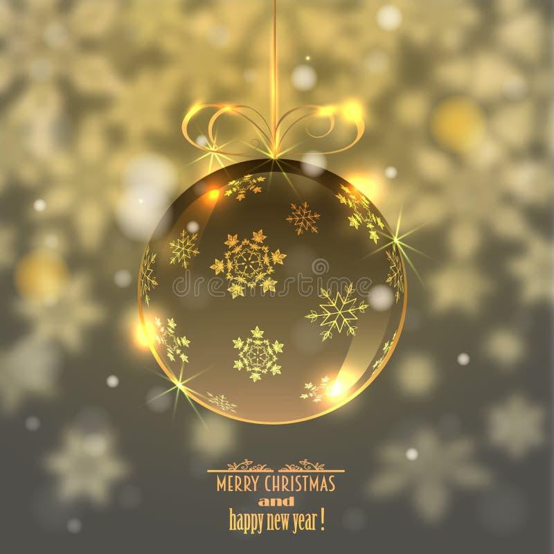 Шарик рождества стеклянный на запачканной предпосылке с снежинками, иллюстрация вектора