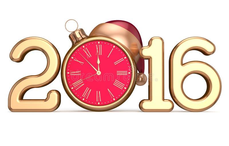 Шарик рождества шляпы Санты часов начала Eve нового 2016 год бесплатная иллюстрация