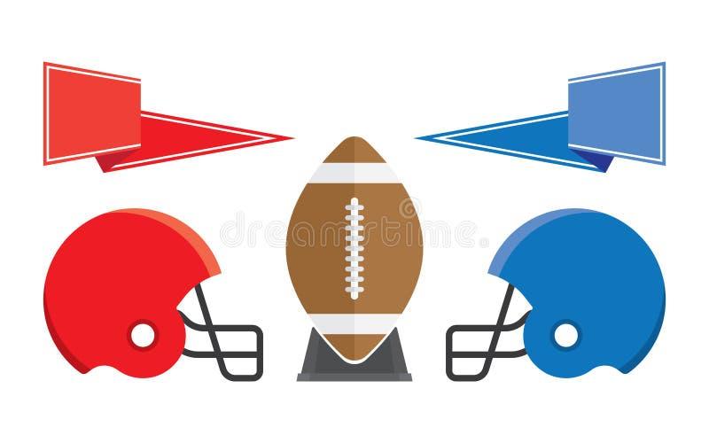 Шарик рэгби и американский футбол шлема иллюстрация вектора