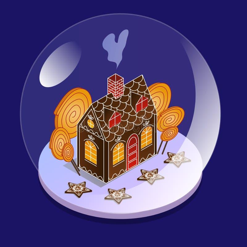 Шарик снега стеклянный в равновеликом взгляде Дом пряника с большими конфетами внутри стеклянного шара Подарок на рождество для д бесплатная иллюстрация