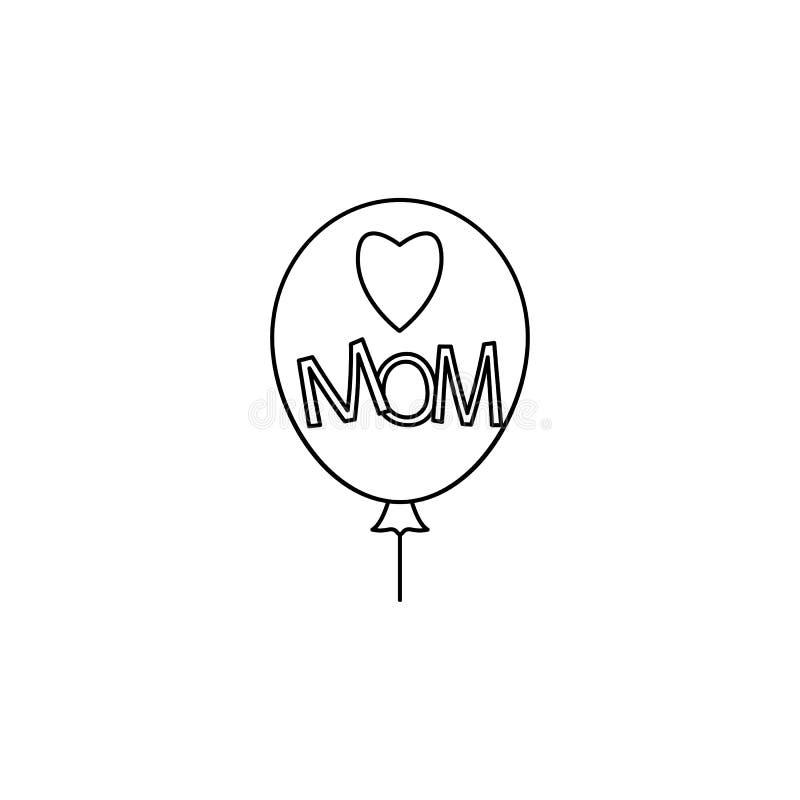 шарик с значком мамы сердца Элемент дня матери для передвижных apps концепции и сети Тонкая линия значок для дизайна и developm в иллюстрация штока