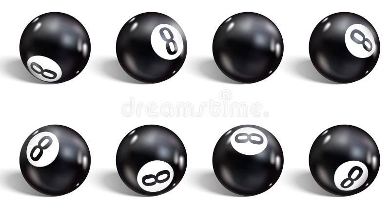 шарик 8 Установите реалистического шарика 8 белизна изолированная предпосылкой Биллиарды иллюстрации вектора иллюстрация штока
