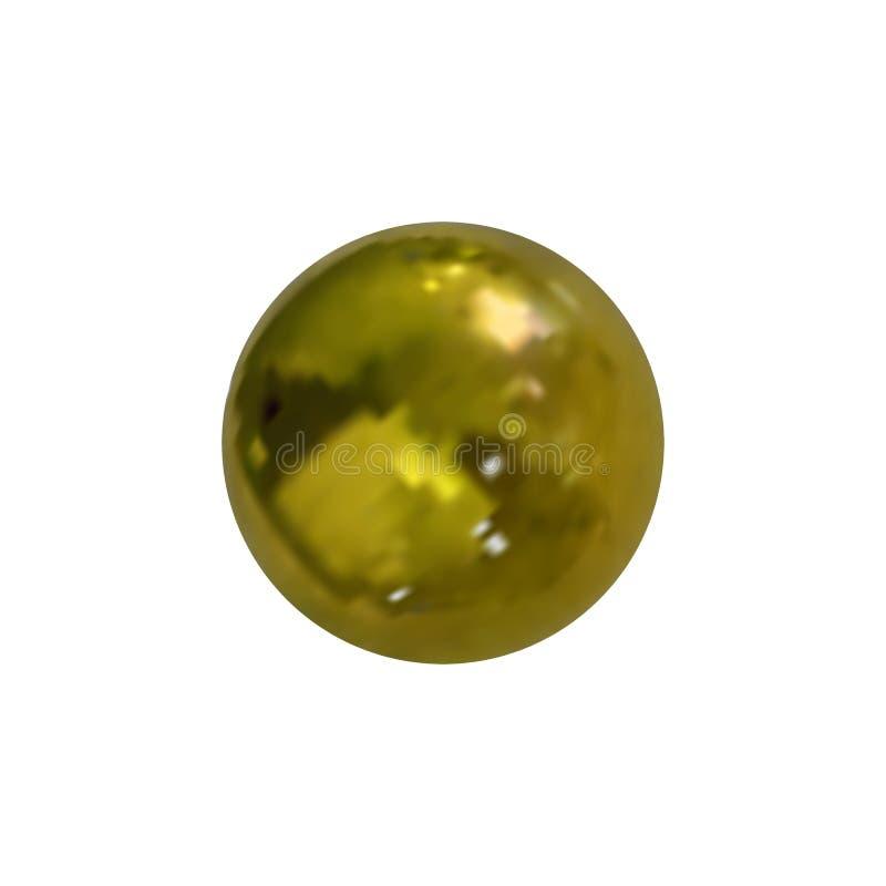 Шарик фото вектора реалистический золотой, металлическая текстура, сияющая поверхностная изолированная сфера иллюстрация штока