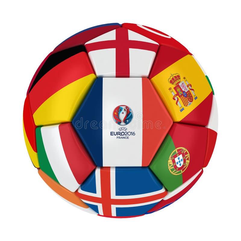 Шарик 2016 Франции евро UEFA иллюстрация штока