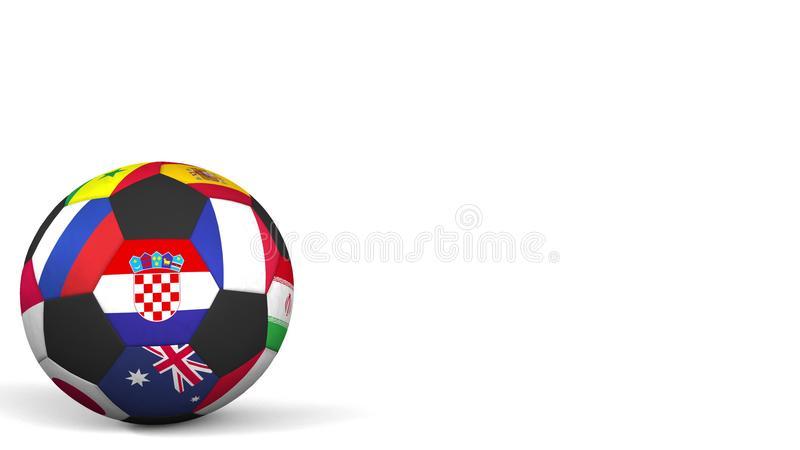 Шарик футбола отличая различным флагом акцентов национальных команд Хорватии перевод 3d стоковые изображения