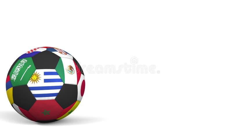 Шарик футбола отличая различным флагом акцентов национальных команд Уругвая перевод 3d стоковая фотография