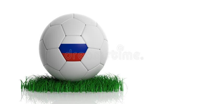 Шарик футбола футбола России на траве изолированной на белой предпосылке иллюстрация 3d иллюстрация штока