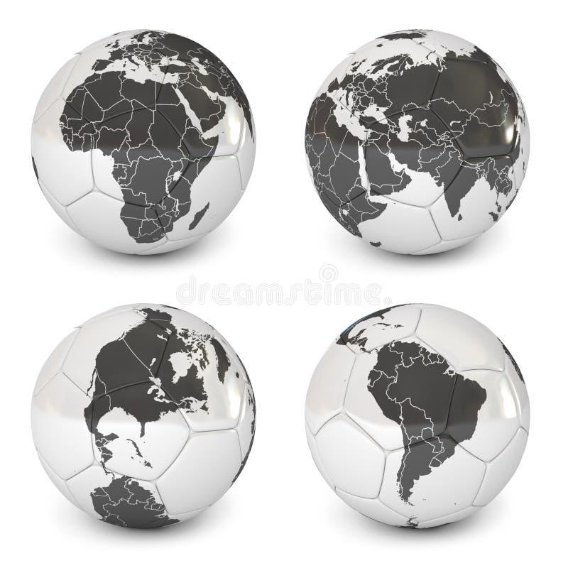 Шарик футбола с изображением земли иллюстрация вектора