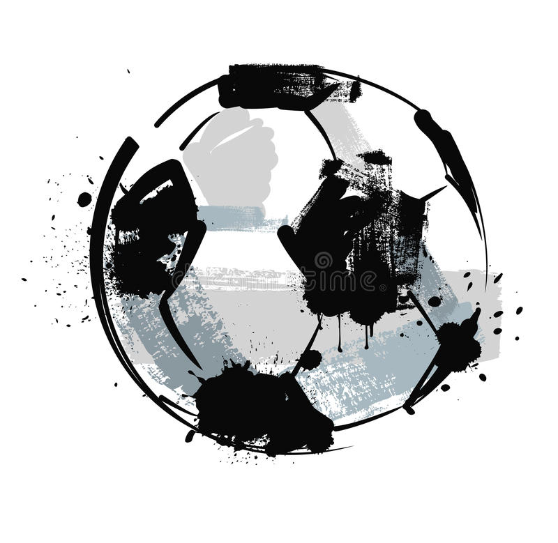 Шарик футбола Grunge иллюстрация вектора