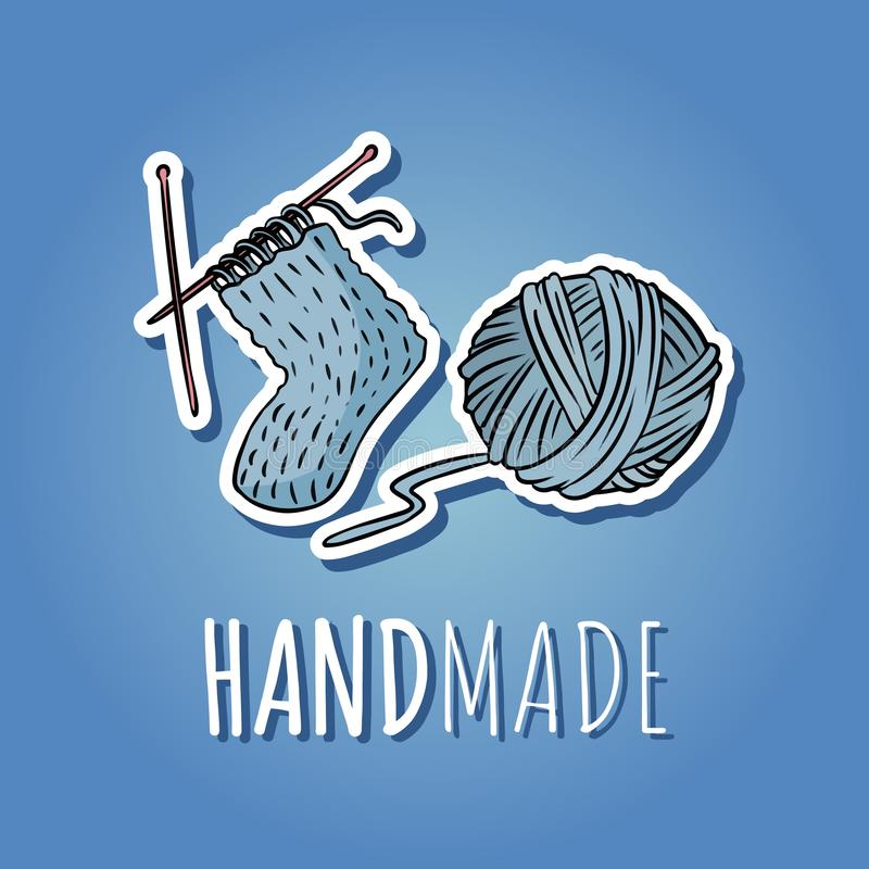 Шарик хлопчатобумажной пряжи и связанный носок Handmade дизайн логотипа Значок мультфильма руки вычерченный милый бесплатная иллюстрация
