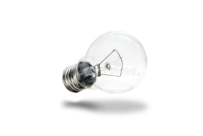 Шарик, электрическая лампочка Шарик Ясные и чистые света шарика, изолированные на чистых белых нюансах Идеи и концепция энергии т стоковые фото