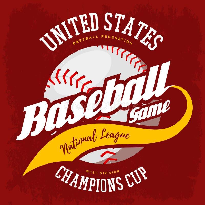 Шарик для американского логотипа бейсбольного матча спорта иллюстрация штока