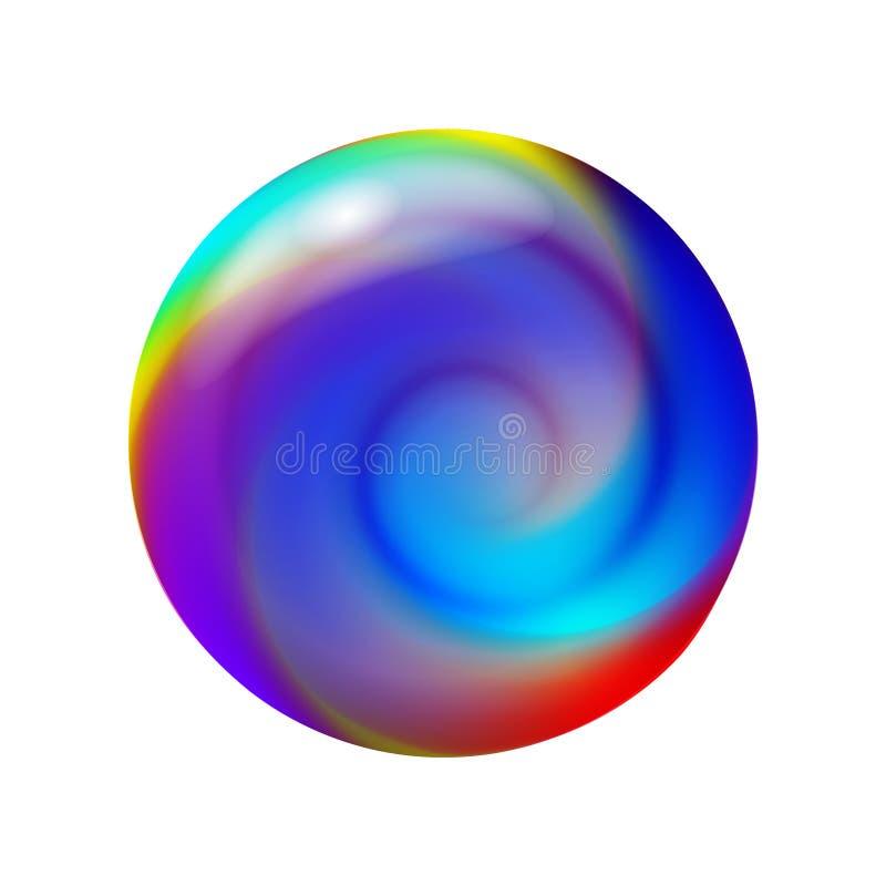 Шарик 3D кристаллический, стеклянная сфера с абстрактной спиральной внутренностью формы, иллюстрацией вектора иллюстрация вектора