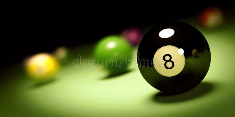 Шарик n 8 на бильярдном столе 3d представляют иллюстрация штока