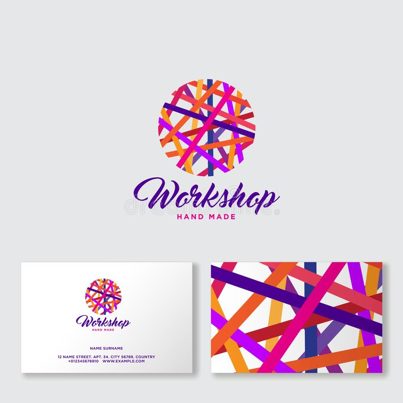 Шарик Ravel пестротканых потоков Логотип Needlework Handmade община продукта иллюстрация штока
