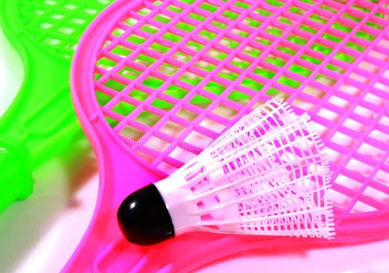 Шарик shuttlecock игрушки с ракеткой стоковое изображение rf
