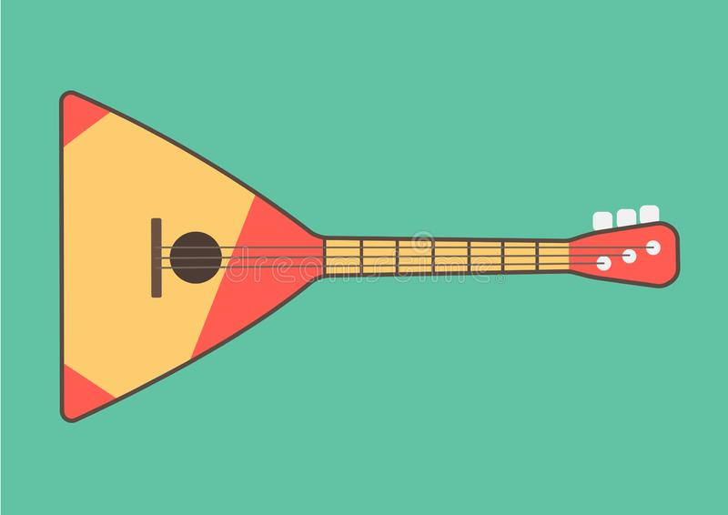 Шарма ethnics балалайки музыкальный инструмент русского фольклорный общипанный в стиле плоских графиков на cyan зеленоголубом bac иллюстрация вектора