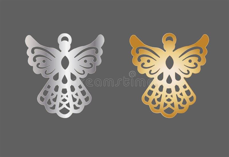 Шарм ангела металла золота и серебра рождество украшает идеи украшения свежие домашние к иллюстрация вектора