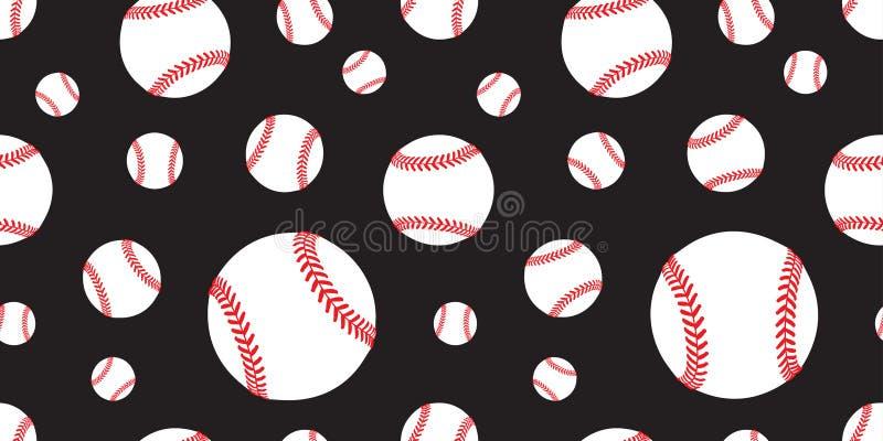 Шарф обоев повторения предпосылки плитки теннисного мяча вектора картины бейсбола безшовный изолировал черноту графика иллюстрация штока