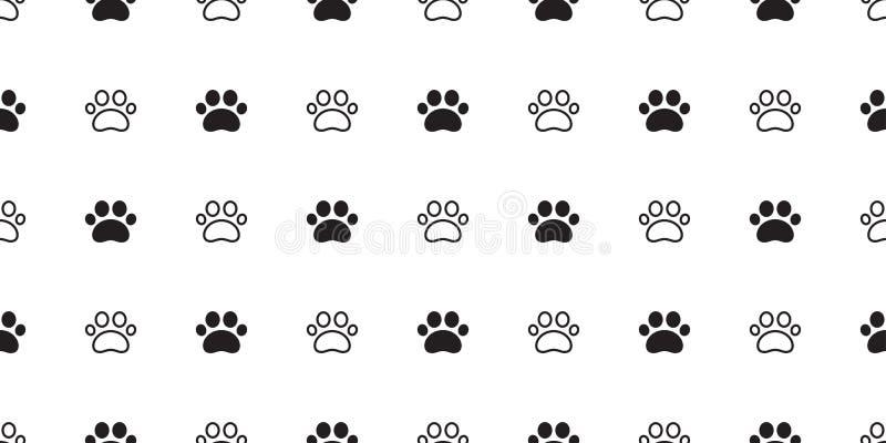 Шарф обоев повторения предпосылки плитки щенка кота следа ноги вектора картины лапки собаки безшовный изолировал иллюстрацию шарж иллюстрация штока